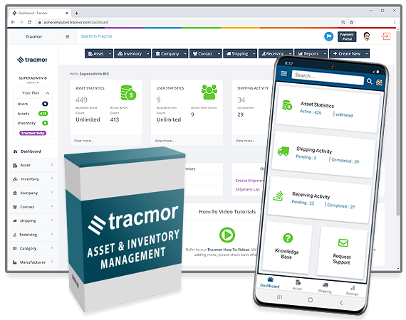 Tracmor dashboard in a web browser next to a mobile device with the Tracmor app.
