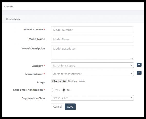 Asset management software create asset models
